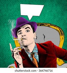 Illustration of well dressed man smoking cigar