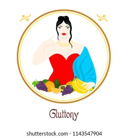 Illustration with a well-fed woman and a meal on the theme of gluttony.