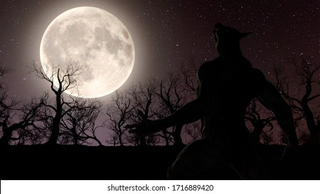 Illustration of a werewolf during the full moon in the creepy forest - 3d rendering