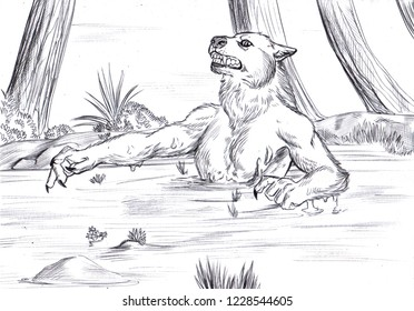 Illustration of a werewolf in the quicksand