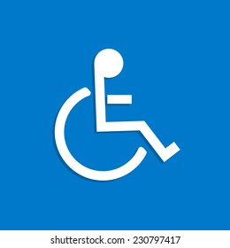 Illustration of the wheelchair symbol on a colorful blue background.