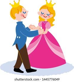 Illustration where a prince and a princess dance