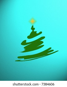 Illustration of whimsical Christmas tree