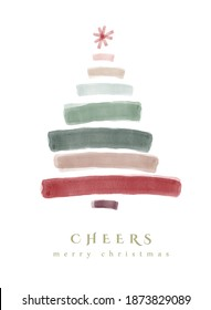 Illustration of a whimsical christmas tree made up of painterly brush strokes, watercolor. Perfect sweet holiday card for this festive season.
