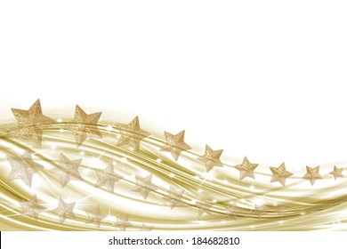 illustration white background with gold stars and waves