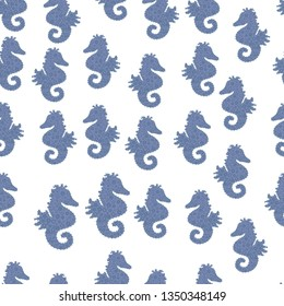 Illustration in white, blue and neutral colors. Abstract seamless pattern for girls, boys, clothes, wallpaper. Sea unicorn print.