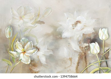 Illustration of white flower on decorative texture pattern marble background 3d wallpaper. Graphical poster modern art
