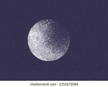 Illustration of white planet in dark blue space with stars in cosmos