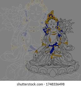 Illustration with white tara of a Buddhist deity