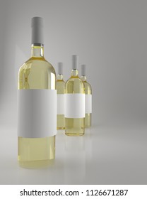 Illustration of white wine bottles with blank label. 3d rendering.