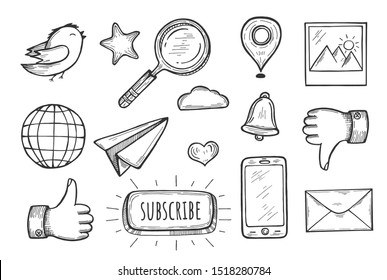 illustration of widgets set. Like, dislike, phone directory, new message, search, internet browser, messenger, reminder, gallery, location, twitter, add to bookmarks. Vintage hand drawn style.