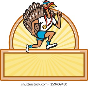 Illustration of a wild turkey run trot running runner thumbs up done in cartoon style on isolated white background