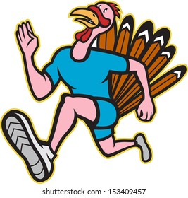 Illustration of a wild turkey run trot running runner viewed from side done in cartoon style on isolated white background