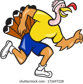 Illustration of a wild turkey run trot running runner viewed from side done in cartoon style on isolated white background.