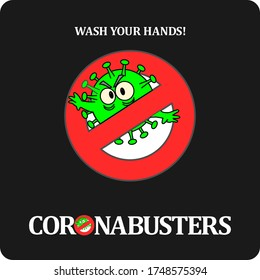 Illustration to win the new coronavirus.Name it Corona Busters. Handwash is the secret word.