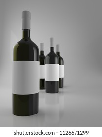Illustration of wine bottles with blank label. 3d rendering.