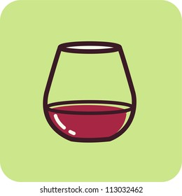 Illustration of wine in a stemless goblet on a green background
