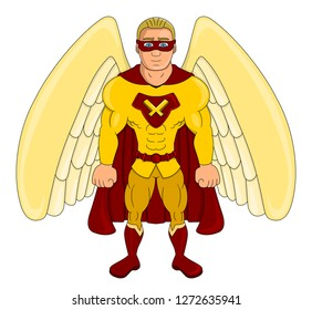 Illustration of a winged super hero dressed in yellow and red costume and cape isolated on a white background