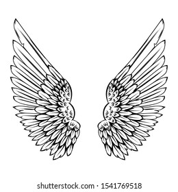 illustration of wings in tattoo style isolated on white background. Design element for logo, label, badge, sign.