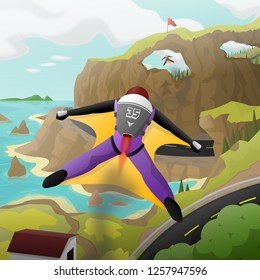 Illustration of a wingsuit fly race.