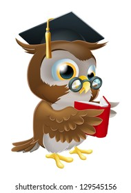 An illustration of a wise owl on a stack of books reading wearing glasses and a mortar board convocation hat.