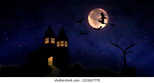 Illustration with a witch on a broomstick