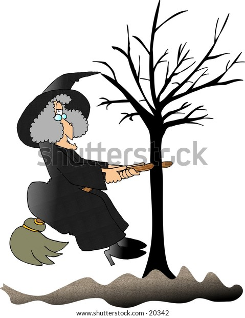Illustration of a witch that ran into a tree while flying on her broom.