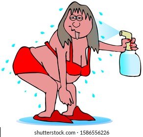 Illustration of a woman in bra and panties spraying herself with water during a hot flash.