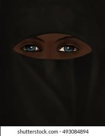 Illustration of a woman in burka with crisp blue eyes/Woman in burka