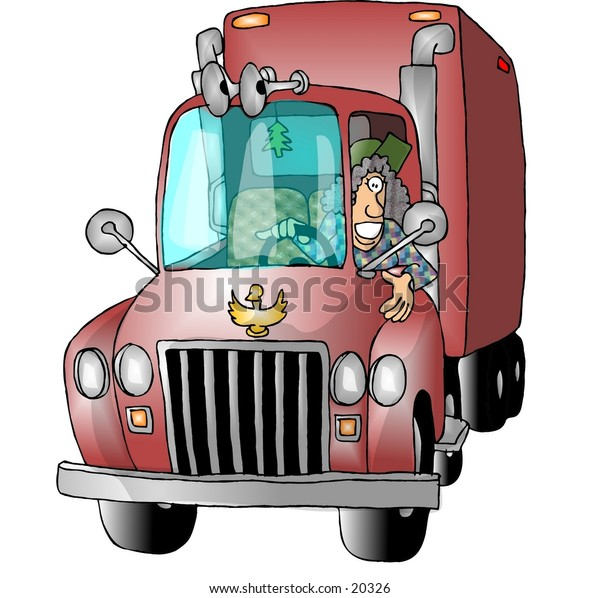 Illustration of a woman driving a large truck.
