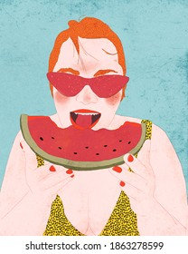 Illustration of a woman eating a watermelon.