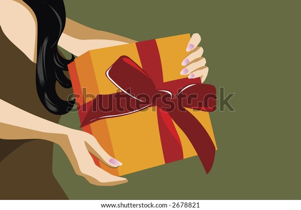 illustration of a woman holding a gift box