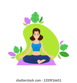 illustration of woman in lotus position - girl sitting in sukhasana pose isolated on white background. Young female character practicing yoga for healthy lifestyle concept in flat style.
