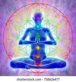 Illustration of woman in meditation, symbol flower of life