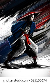 Illustration woman samurai ready to take the fight