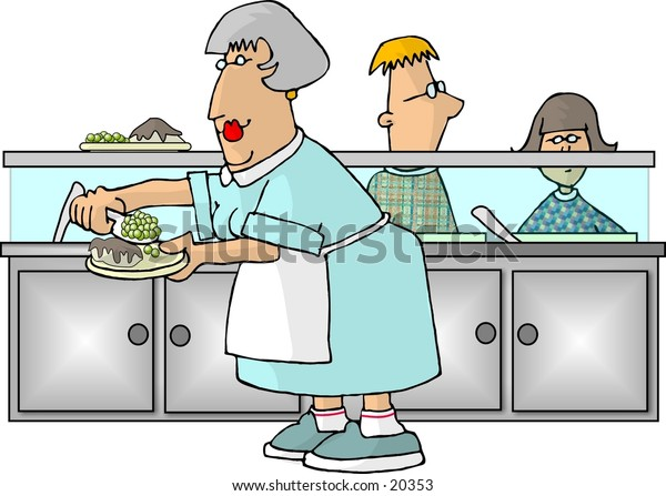 Illustration of a woman serving food to two kids in a school cafeteria.