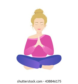 illustration of woman sitting in a lotus pose and meditating. Home yoga, calmness.