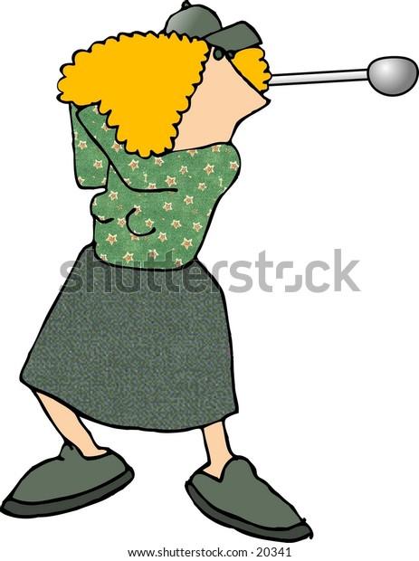 Illustration of a woman swinging a golf club.