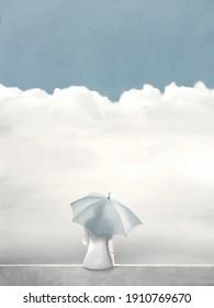 Illustration von Frau mit Regenschirm, die auf die Wolken wartet, hoffen abstraktes Konzept