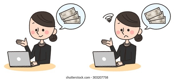 illustration of woman using pc and thinking about money