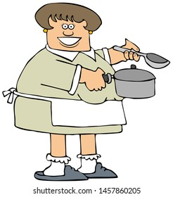 Illustration of a woman wearing an apron and holding a soup pot and ladle.