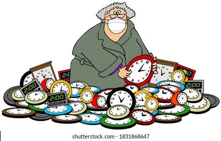 Illustration einer Frau, die einen Bademantel und eine Gesichtsmaske trägt, die in einem Haufen Uhren steht, die die Zeit bestimmen.