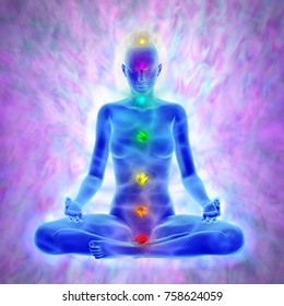 Illustration of woman in yoga meditation -  aura and chakras