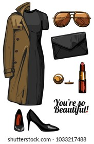 illustration of women fashion clothes look set. Trench coat, little black bodycon dress, aviator sunglasses, clutch bag, red lipstick, golden jewellery, black patent pointed pumps shoes.