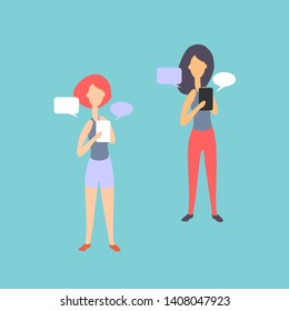 illustration. Women, girls with tablets. Infographics on the theme of  technology, cognition, business.
