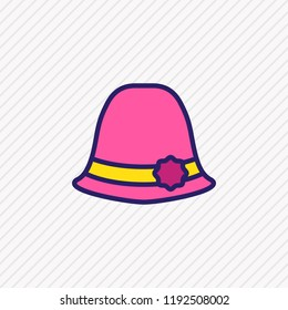illustration of women hat icon colored line. Beautiful clothes element also can be used as sunstroke icon element.