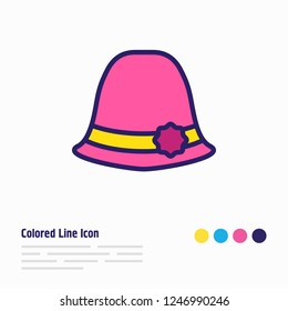 illustration of women hat icon colored line. Beautiful garment element also can be used as sunstroke icon element.