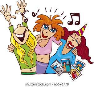 Illustration of Women on ladies night party