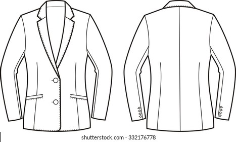 Illustration of women's business jacket. Front and back views. Raster version