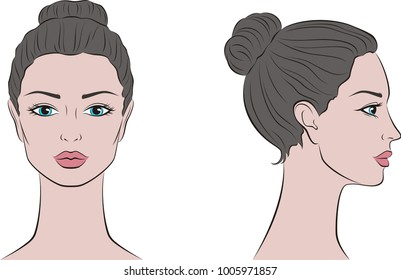 Illustration of women's head. Front and side. Raster version